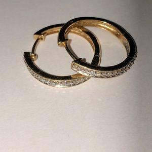 14 karat gold diamond hoop earrings